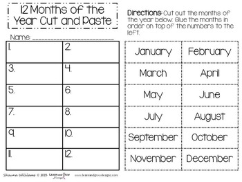12 Months of the Year Activity Pack - Expanded