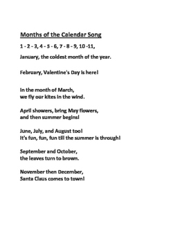 12 Months of the Year Calendar Song