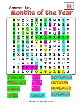 12 Months of the Year { Word Search}