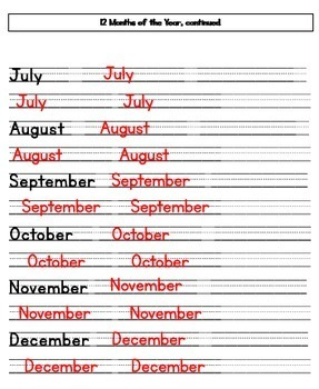 12 Months of the Year Worksheet