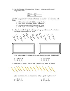 12 More STAAR-formatted Spanish Math Word Problems Third Grade