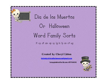 12 Most Commonly Used Word Family Sorts for Halloween or Dia de los Muertos