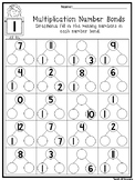 12 Multiplication Number Bonds Worksheets. Fill In the Missing Numbers. 2nd-4th