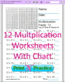 12 Multiplication Worksheets With Multiplication Chart, Pa