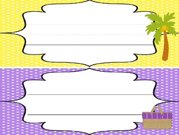 12 Beach themed Printable Name Plates. Class Accessories.