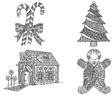 12 Winter Holiday Zentangle Coloring Pages