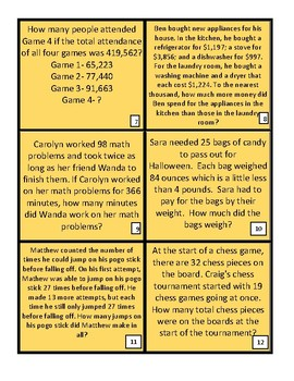 Math Word Problem Task Cards- FREE!