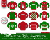 12 PNG+JPG Christmas Ugly Sweaters Clipart