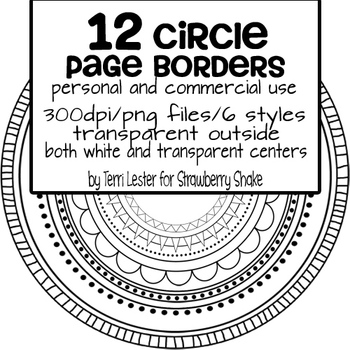 12 Page Borders CIRCLE PACK - for personal and commercial use