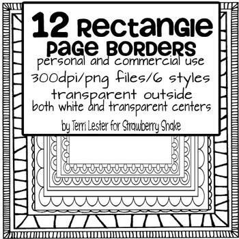 12 Page Borders RECTANGLE PACK - for personal and commercial use