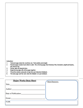 12 Page Flip Book Major Works Data Sheet for Interactive Notebooks