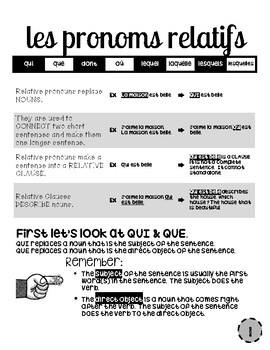 20 Page French Packet: Relative Pronouns (inc. ce qui, etc.) with Practice