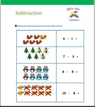 12 Pages of Amazing High Quality Subtraction Worksheets with Pictures!