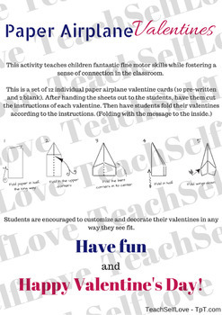 12 Paper Airplane Valetines with Instructions (NO PREP)
