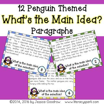 12 Penguin Themed Main Idea Task Cards