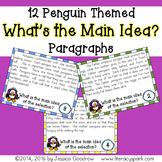 12 Penguin Themed Main Idea Task Cards