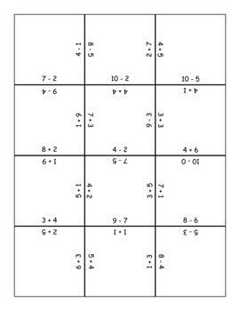 12 Piece Addition and Subtraction Puzzle