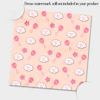 12 Pink and Cream Baby Girl Shower Digital Papers