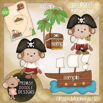 12-Pirate Monkeys 300 dpi Clipart