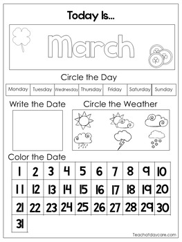 12 Printable Preschool Calendar Worksheet Pages. Month, Day, Date, Weather.