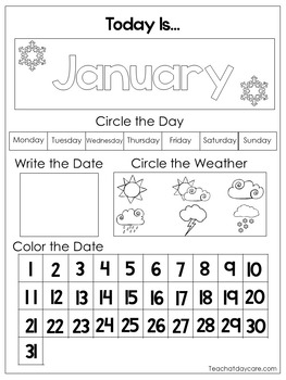 image relating to Preschool Calendar Printable named 12 Printable Preschool Calendar Worksheet Web pages. Thirty day period, Working day, Day, Weather conditions.