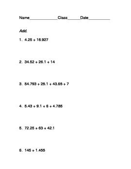 12-Question Add/Subtract Decimals