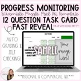 12 Question Fast Reveal Progress Monitoring Task Card Scra