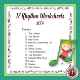 Music Activities: 12 Music Rhythm Worksheets SET 4