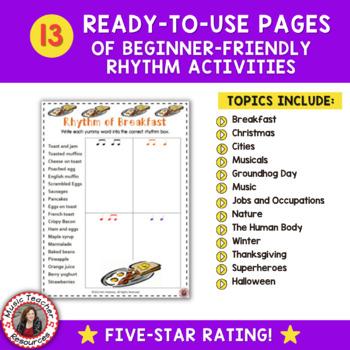 Rhythm Activity Sheets: Match the Rhythm to the Words: Set 2