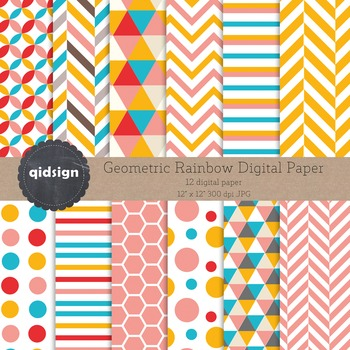 12 Rainbow Geometric Digital Paper