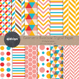 12 Rainbow Geometric Digital Paper