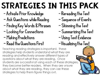 12 Reading Strategy Posters - Use with Weekly Reading Passages & Questions