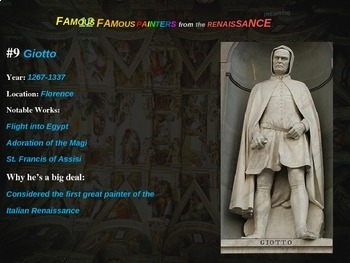 12 Renaissance Painters: Handout to go with 60 rich slides (info, images & more)