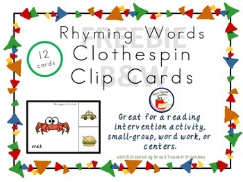 12 Rhyming Word Clothespin Clip Cards FREE