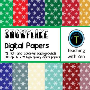12 Rich and Colorful Snowflake pattern digital papers Christmas Winter Holiday