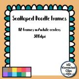 12 Scalloped Doodle Digital Frames