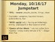 12 School Days Before Halloween Jumpstarts, Quizzes, Homework