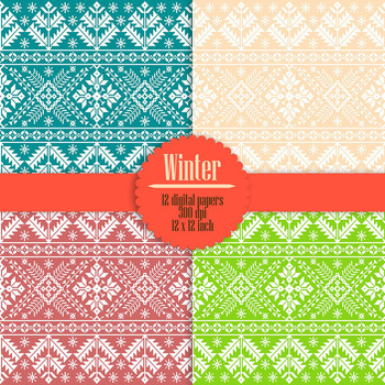 12 Seamless Christmas Sweaters Knitting Pattern Digital Papers