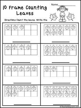 12 Season themed 10 Frame Math No Prep Worksheets
