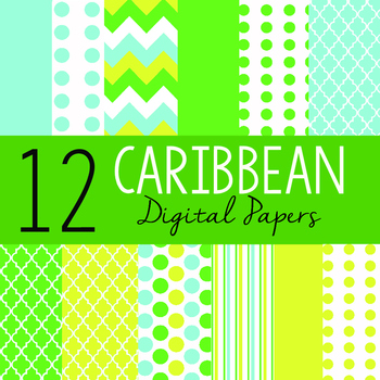 "12 Sheets 12""x12"" Digital Papers - Caribbean"