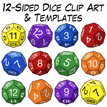 12 sided dice clip art templates by digital classroom clipart tpt