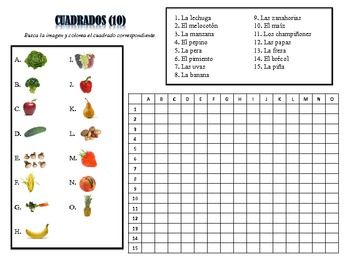 Spanish Fruits and Vegetables Activities; Do Now, Fast Finisher, Homework