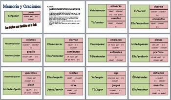 12 Spanish Speaking Activities: Memory with Sentences