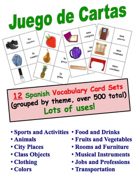 12 Spanish Vocabulary Picture and Word Card Sets (Grouped