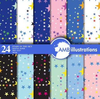 Star themed papers and backgrounds Sparkling stars scrapbooking papers AMB-415