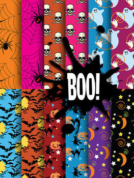 "12 Spooky Halloween Papers - Boo! - 12 x 12"" 300 DPI - PNG - PDF"