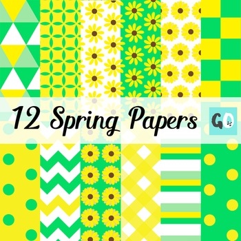 12 Spring Digital Papers | Green Yellow White