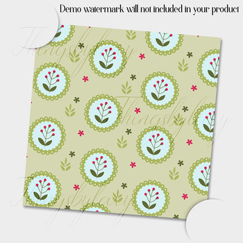 12 Spring Flower Digital Papers 6 inch