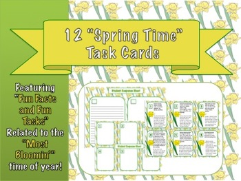 "12 Spring Task Cards: ""Fun Facts"" + ""Fun Tasks"" for Studen"