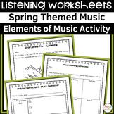 Spring Themed Music Listening Worksheets